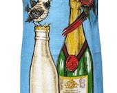 Metro Retro 'Champagne - Opening Time' Vintage Tea Towel Womens Kitchen HANDMADE Apron  . Christmas - Birthday, Gift Idea . Upcycled .