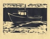 """Lobster Boat Print Woodcut of Maine """"Lobster Boat"""""""