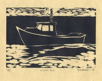 "Lobster Boat Print Woodcut of Maine ""Lobster Boat"""