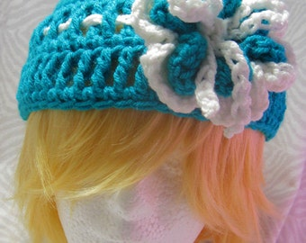 Blue & White Flower Hat
