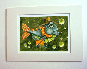 Goldfish art print 5 x 7 matted watercolor fish gentleman character steampunk
