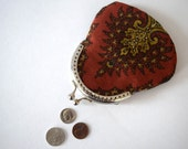 Red and Mustard Tree Recycled Coin Purse