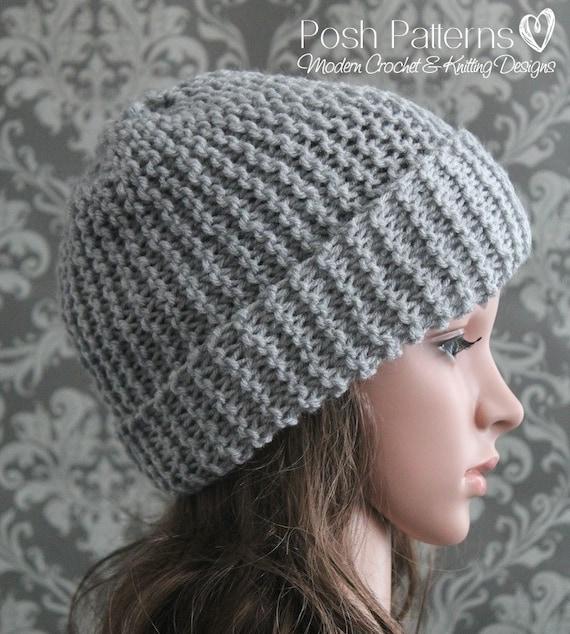 Knitting PATTERN - Easy Beginner Knit Slouchy Hat Pattern ...