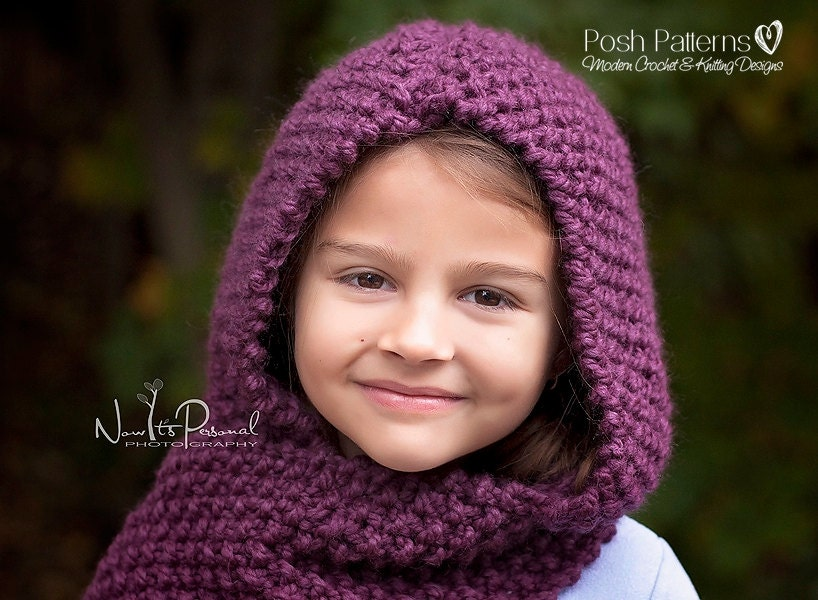 Knitting Pattern - Knit Hooded Cowl - Knitting Patterns - Knitting Pattern Ha...