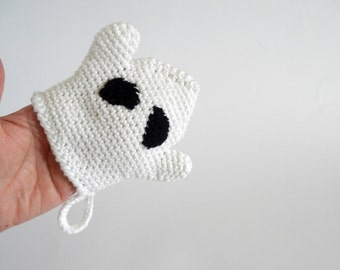 Crochet ghost bath mitt, handmade wash cloth in white cotton, shower mitten for kids, crocheted ghost, cotton wash cloth, READY TO SHIP