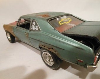 Classicwrecks Rusted Wrecked 1/24 scale model chevy nova in green