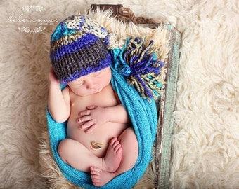Newborn Hat and Stretch wrap set - 'JOURNEY' Beanie and 'TURQUOISE' stretch wrap - Newborn photo prop set - knitbysarah - Stitches by Sarah