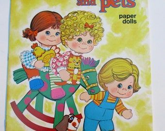 Vintage Baby Beans And Pets Paper Doll Book by Whitman, 1970s Collectible Uncut in Excellent Condition