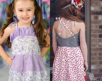 Octavia's Ruched Bodice Top and Dress PDF Pattern sides 6-12m to size 8 Girls