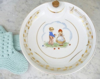 Vintage Limoges Baby Plate French Warming Bowl Baby Shower Gift Antique Nursery Made in France