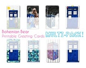 Printable Greeting Cards Multi Pack, 8 DIY Christmas Holiday Digital Download plus Bonus Envelope Seals