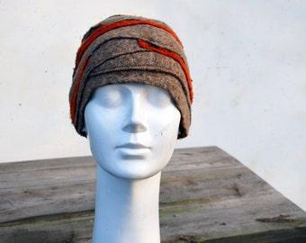 Unique felt cloche hat, winter hat, beige orange, retro beanie ooak womans wearable art to wear fashion 132