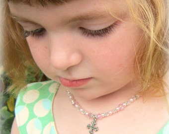 Girl's Cross Necklace. Children's Crystal and Pearl Necklace. Baptism Gift. Necklace for a Baby. First Communion Gift. Children's Jewelry