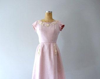1950s linen dress . vintage 50s pink dress