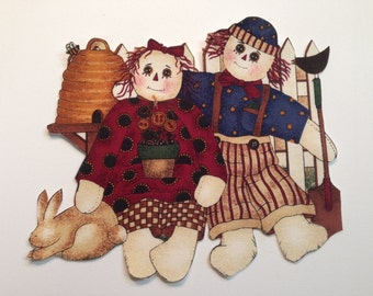 Vintage Iron On Applique -Debbie Mumm Raggedy Ann & Raggedy Andy- OOP