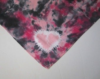 Tie-dyed Bandana with Hearts, Pink and Black, Cotton