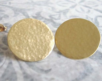 Gold stud earrings , Large gold disc hammered studs , Hand forged post earrings , Handmade by Adi Yesod