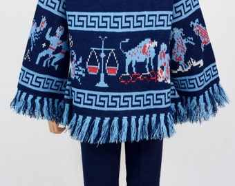 Vintage 1970's Women's ZoDiaC AsTroLoGY HiPPiE BoHo AsTrOloGicaL Knit Sweater & Pants 2 Piece Outfit Size S M