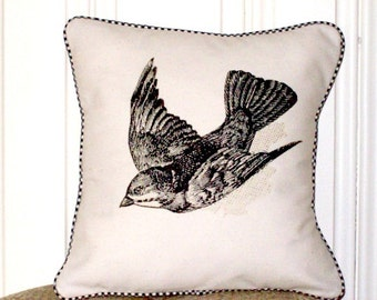 "shabby chic, feed sack, french country, vintage sparrow graphic with gingham  welting 14"" x 14"" pillow sham."