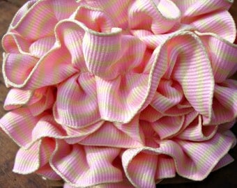 Handmade Vintage Inspired Pink and Cream Striped Ruffle Ribbon