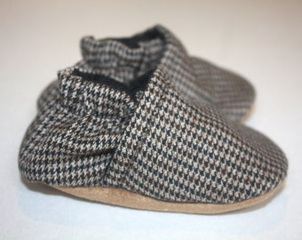 Brown baby shoes baby boy shoes boy dress shoes Houndstooth baby shoes baby booties indoor shoes soft sole shoes baby dress shoes