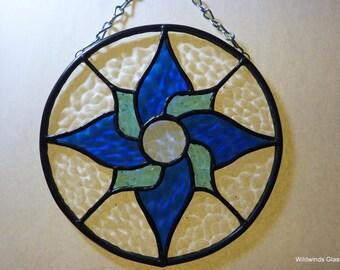 Swirling Star Stained Glass Suncatcher in Blue
