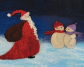 Christmas Picture Felt Making Kit with Father Christmas and Snowmen and online tutorial