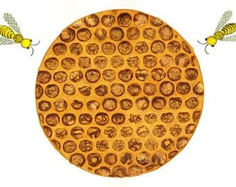 Original watercolor painting Honeybee and honey comb Bee art Autumn fall decor