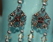 Citrine and Topaz Crystal Silver Beaded Dangle Earrings