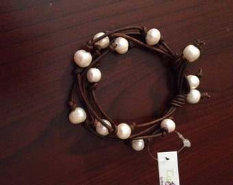 Multi Strand Leather and Freshwater Pearl Bracelet
