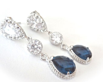 Bridal jewelry - Navy blue earrings - Long - Teardrops - Sparkling - Cubic zirconias - Sterling silver posts - Something blue -