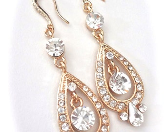 Bridal jewelry ~ Gold rhinestone earrings ~ Long ~ Brides earrings ~ 14K gold over sterling ear wires ~ Exquisite ~ Wedding earrings
