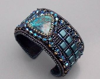 Bead Embroidery,  Bracelet,  Cuff ,   Seed beads jewelry,  Swarovski,   Azurite,   Fashion jewelry,  Blue,  Gunmetal,