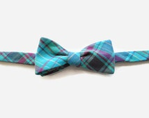 Teal Plaid Cotton Bow Tie Self Tie Adjustable Recycled Men's Shirt