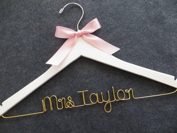 White Wedding Dress Hanger Gold Wire Bridal Hanger Mrs