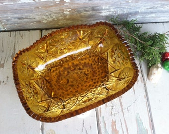 Vintage Amber Pressed Glass Bowl With Sawtooth Edge by LE Smith - Retro Thick + Heavy Serving Bowl or Decorative Item, Amber Art Glass Bowl
