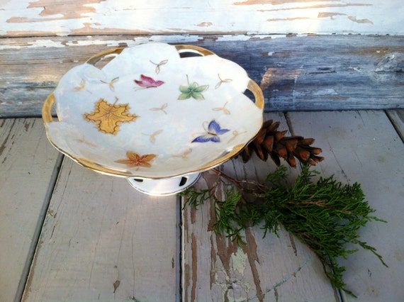 Antique China Pedestal Plate - Butterfly Cake Plate / Serving Plate by Lipped + Mann, Shabby Cottage Chic Footed + Decorative China Platter