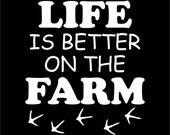 Life is Better on the Farm White Vinyl Chicken Car Window Square Sticker Decal by Fresh Eggs Daily