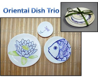 Oriental Dish Trio: Lily Pad, Koi Fish, and Dragonfly dish set. Sushi, tea set, ring dishes, themed dishes.