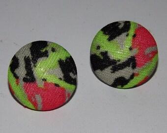 "Vintage Fabric Earrings - Neon Splatter Print - 1"""