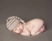 DISCOUNTED - old stock - Newborn Tan and Brown Knit Merino Sleeper Hat - Ready to Ship Photography Prop