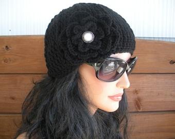 Women's Hat Crochet Hat Winter Fashion Accessories Women Beanie Hat Cloche Winter Hat with Crochet Flower - Choose color