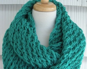 Hand Knit Scarf Women Scarf Cowl Winter Fashion Accessories Women Infinity Scarf in Jadette blue by creationbyellyn