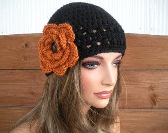 Womens Hat Crochet Hat Winter Fashion Accessories Women Beanie Hat Cloche Hat in Black with Burnt Orange crochet flower