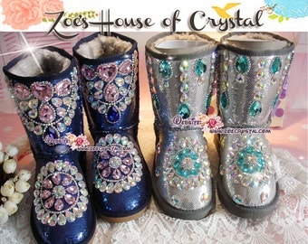 PROMOTION WINTER Blue / Silver Metallic Surface Sheepskin Fleech/Wool Boots with shinning and stylish CRYSTALS