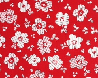 White floral fabric by the yard , White flowers on Red / 100% cotton fabric / Michelle D'Amore for Marcus Brothers