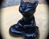 BUDDHA CAT Sculpture Zen Kitty Halloween Holiday Goth Black Animal Art Child Healing Goddess Altar Witch Familiar Wicca Holiday Gift C3