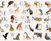 LaRGE SiZe - Animal English or French   Alphabet  - Horizontal - 36 x 24 - Blues, Greens, Gold, yellow, Grey