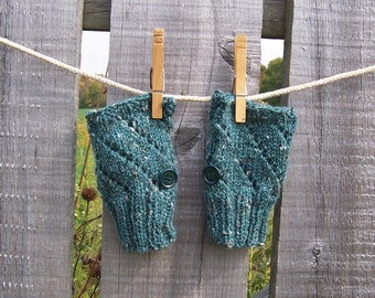 Fingerless Glove Wrist Warmers, Alpaca and Merino Wool, Smart Phone Tablet Gloves, Cypress Green Lace Pattern with Button Back to School