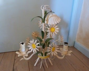 Antique French toleware tole chandelier lamp flowers tole light lighting ceiling light fixture, romantic cottage chic French boudoir light
